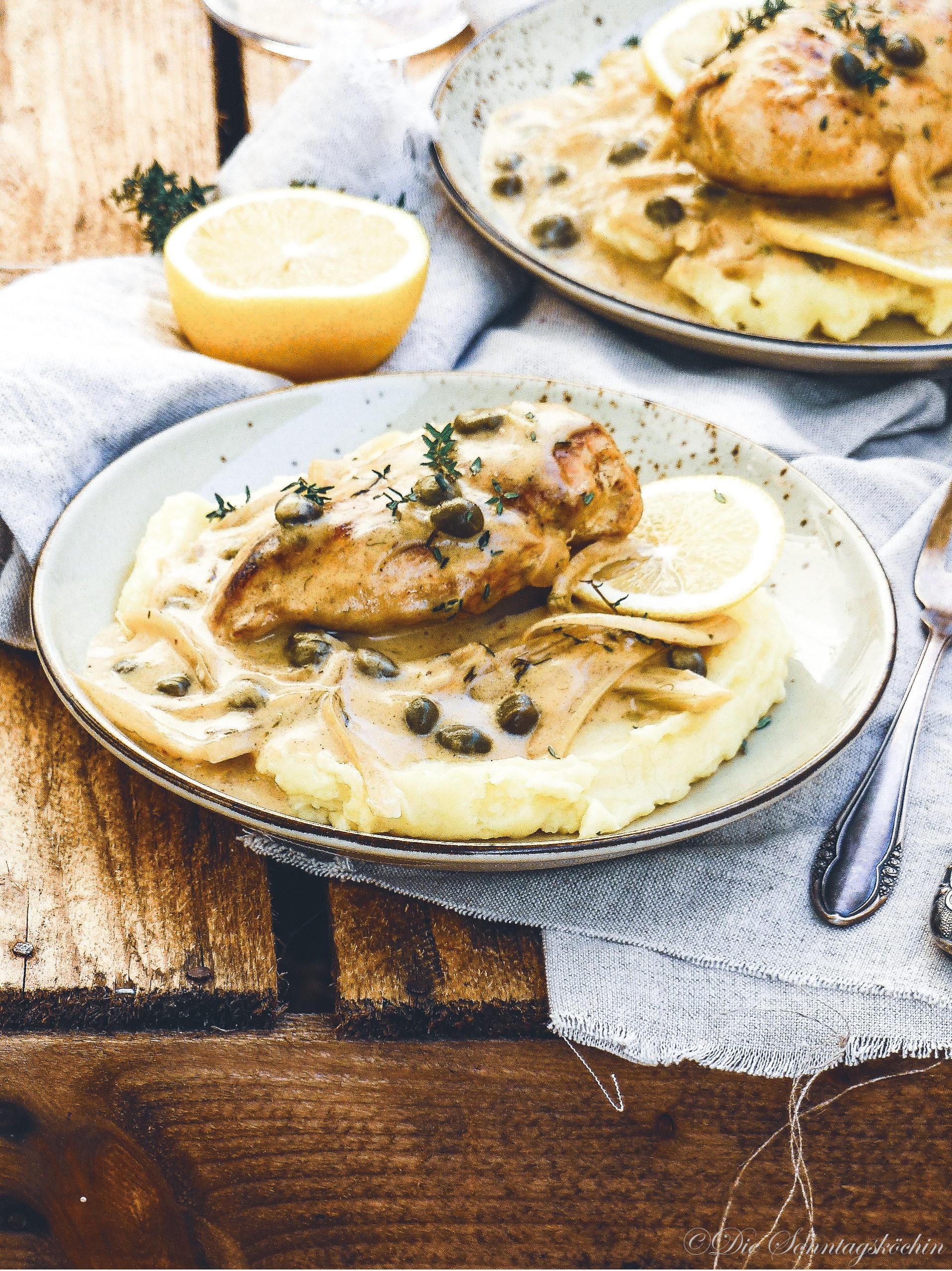 Hähnchenbrust in Senfsoße und Fenchelgemüse & Kapern