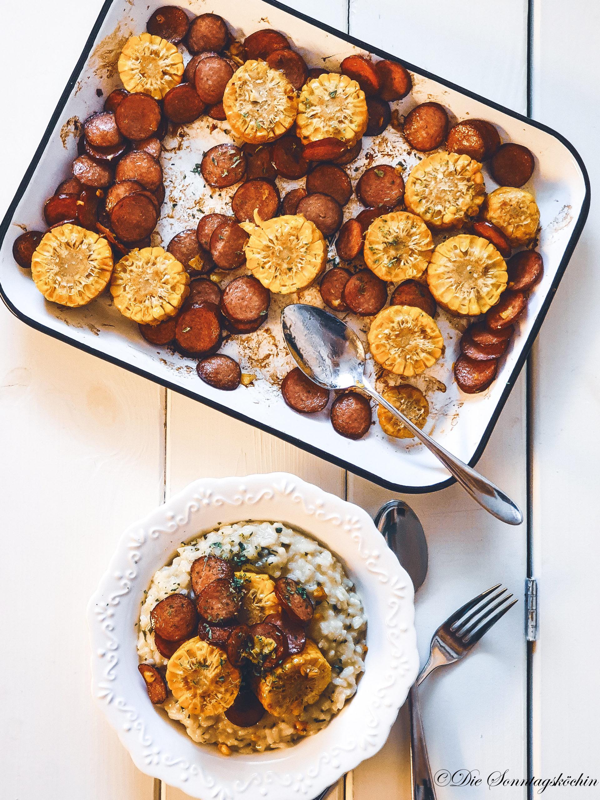 Bärlauch Risotto mit gebackenen Cabanossi Chips und Maisstückchen