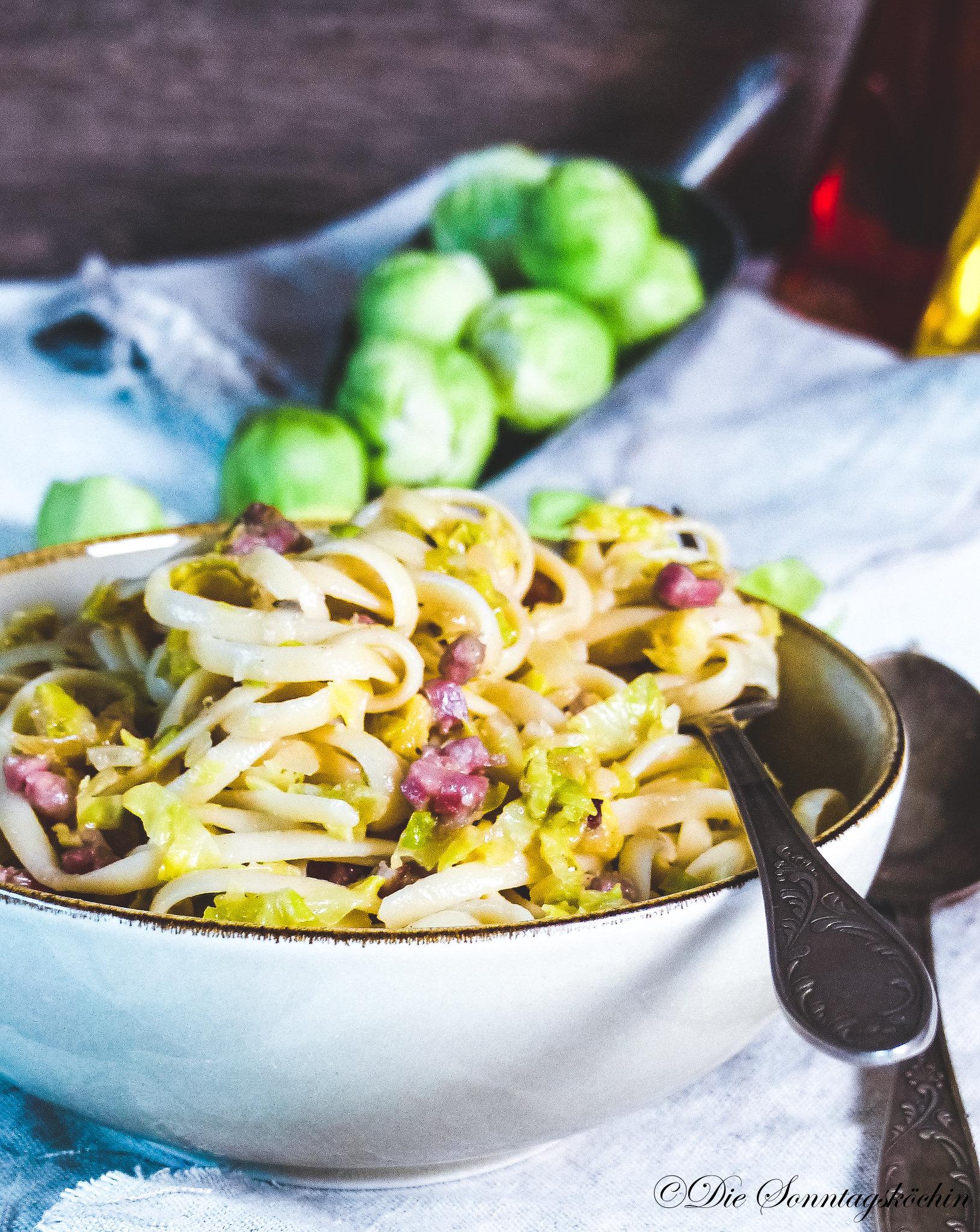 Pasta mit Rosenkohl & Bacon