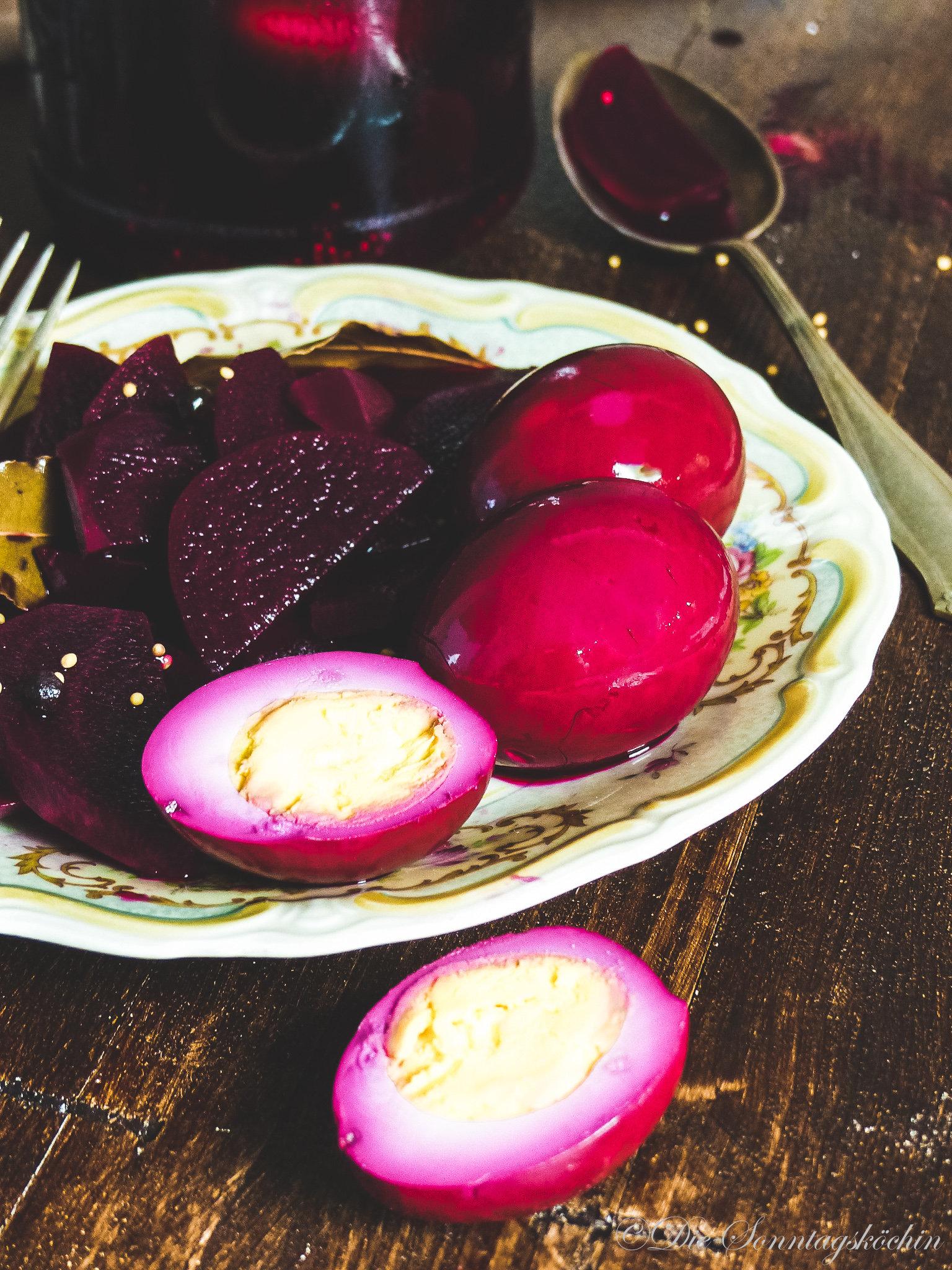 Think Pink...süß-saure Eier mit roter Bete